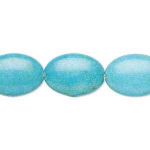 Bead, Magnesite (dyed / Stabilized), Teal, 17x13mm-18x14mm Puffed Oval, C Grade, Mohs Hardness 3-1/2 4. Sold Per 15-inch Strand