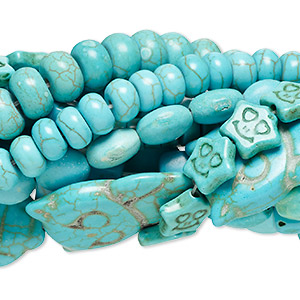 Bead Mix, Magnesite Chalk Turquoise (dyed / Stabilized), Blue Green, 5x3mm-21x15mm Mixed Shape, Mohs Hardness 3-1/2 4. Sold Per Pkg (10) 15-inch Strands
