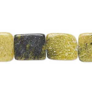 """Bead, Yellow """"turquoise"""" (natural), 15x12mm-19x14mm Rounded Flat Rectangle, C Grade, Mohs Hardness 2-1/2 6. Sold Per 8-inch Strand"""