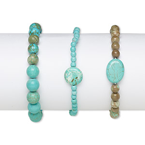 Bracelet Mix, Stretch, Magnesite Chalk Turquoise (dyed / Stabilized), Mixed Colors, 4mm-30x23mm Multi-shape, 7 Inches, Mohs Hardness 3-1/2 4. Sold Per Pkg 3