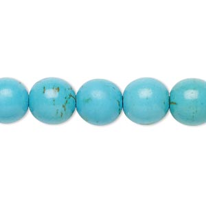 Bead, Magnesite (dyed / Stabilized), Blue, 9-10mm Round, B- Grade, Mohs Hardness 3-1/2 4. Sold Per 15-inch Strand