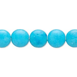 Bead, Magnesite (dyed / Stabilized), Blue, 9-10mm Puffed Flat Round, B- Grade, Mohs Hardness 3-1/2 4. Sold Per 15-inch Strand