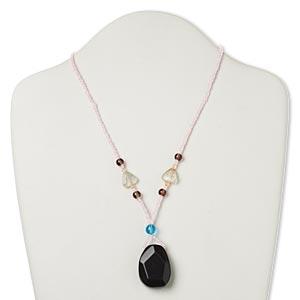 Nobilis Shell Borosilicate Pendant with aquatic dangles on gemstone chain