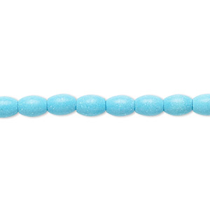 Bead, Magnesite (dyed / Stabilized), Blue, 6x4mm-7x5mm Oval, C Grade, Mohs Hardness 3-1/2 4. Sold Per 15-inch Strand