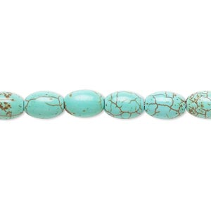 Bead, Magnesite (dyed / Stabilized), Green, 8x6mm-9x6mm Oval, B Grade, Mohs Hardness 3-1/2 4. Sold Per 15-inch Strand