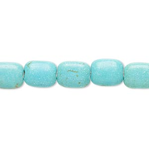 Bead, Magnesite (dyed / Stabilized), Blue-green, 10x8mm Rounded Puffed Rectangle, C Grade, Mohs Hardness 3-1/2 4. Sold Per 15-inch Strand