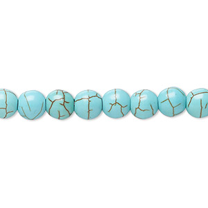Bead, Magnesite (dyed / Stabilized), Blue-green, 5-6mm Round, B- Grade, Mohs Hardness 3-1/2 4. Sold Per 15-inch Strand