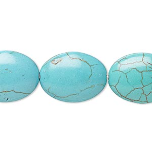 Bead, Magnesite (dyed / Stabilized), Teal, 19x15mm-20x15mm Puffed Oval, B Grade, Mohs Hardness 3-1/2 4. Sold Per 8-inch Strand