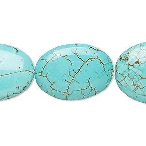 Bead, Magnesite (dyed / Stabilized), Blue-green, 24x17mm-25x19mm Puffed Oval, C- Grade, Mohs Hardness 3-1/2 4. Sold Per 8-inch Strand