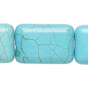 Bead, Magnesite (dyed / Stabilized), Teal, 29x19mm-30x20mm Rounded Puffed Rectangle, B Grade, Mohs Hardness 3-1/2 4. Sold Per 8-inch Strand