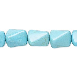 Bead, Magnesite (dyed / Stabilized), Teal, 12x10mm-13x11mm Twisted Triangle Tube, C Grade, Mohs Hardness 3-1/2 4. Sold Per 15-inch Strand