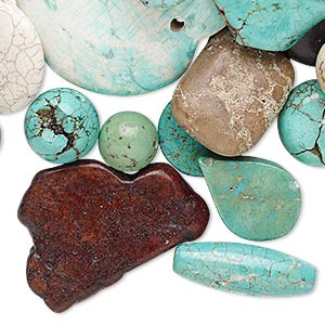 Focal Drop Mix, Magnesite (dyed / Stabilized), Mixed Colors, 10mm-50x50mm Mixed Shape, Mohs Hardness 3-1/2 4. Sold Per 1/2 Pound Pkg, Approximately 30-35 Pieces