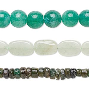 Bead Mix, Green Aventurine (natural), 3x2mm-14x9mm Hand-cut Mixed Shape, Mohs Hardness 7. Sold Per Pkg (3) 13-inch Strands