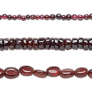 Bead Mix, Garnet (dyed), 1mm-12x9mm Hand-cut Mixed Shape, Mohs Hardness 7 7-1/2. Sold Per Pkg (3) 14-inch Strands