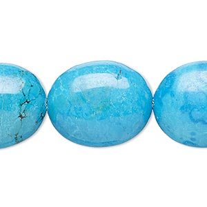 Bead, Magnesite (dyed / Stabilized), Blue, 22x18mm-23x19mm Puffed Oval, B- Grade, Mohs Hardness 3-1/2 4. Sold Per 8-inch Strand