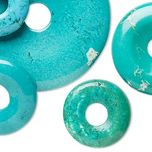 Focal Component Mix, Magnesite Chalk Turquoise (dyed / Stabilized), Mixed Colors, 25-54mm Round Donut, Mohs Hardness 3-1/2 6. Sold Per Pkg 5