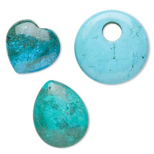 Focal Drop Mix, Magnesite (dyed / Stabilized), Mixed Colors, 20x20mm-45x35mm Heart / Teardrop / Go-go, Mohs Hardness 3-1/2 4. Sold Per Pkg 3