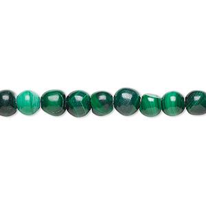 Bead, Malachite (natural), 4-6mm Round, C Grade, Mohs Hardness 3-1/2 4. Sold Per 15-inch Strand