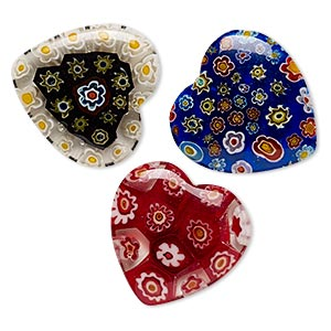 Component Mix, Millefiori Glass, Mixed Colors, 29x28mm-30mm Top- / Half- / Undrilled Heart. Sold Per Pkg 3
