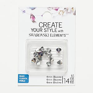 Bead, Swarovski® Crystals, Crystal Volcano, 6mm Xilion Bicone (5328). Sold Per Pkg 14 56-05602