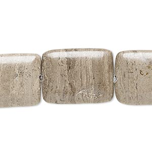 Bead, Grey Cream Marble (natural), 20x15mm-21x16mm Puffed Rectangle, C+ Grade, Mohs Hardness 3. Sold Per 15-inch Strand