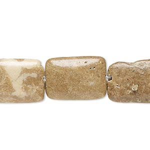 Bead, Brown Marble (natural), 18x13mm-19x14mm Puffed Rectangle, C Grade, Mohs Hardness 3. Sold Per 15-inch Strand