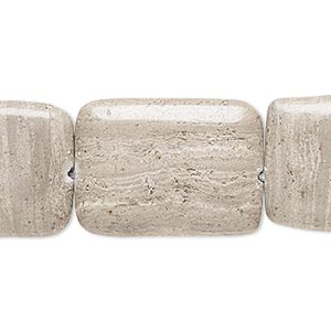 Bead, Grey Cream Marble (natural), 25x18mm-26x19mm Flat Rectangle, C+ Grade, Mohs Hardness 3. Sold Per 15-inch Strand