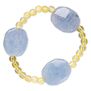 Bracelet, Stretch, Quartz (dyed) Acrylic, Yellow Blue, 5mm Round 24x20mm-25x21mm Faceted Puffed Oval, 6-1/2 Inches. Sold Individually E9875CL