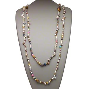 pearl, cultured freshwater (bleached / dyed), mixed colors, 4mm-18x9mm mixed shapes. sold per 64-inch continuous strand.