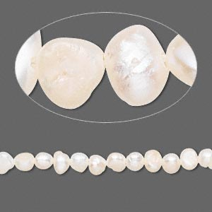 pearl, cultured freshwater (bleached), white, 3-4mm flat-sided potato, d grade, mohs hardness 2-1/2 to 4. sold per 15-inch strand.