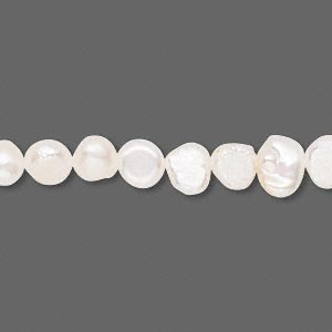 pearl, cultured freshwater (bleached), white, 5-6mm flat-sided potato, d grade, mohs hardness 2-1/2 to 4. sold per 15-inch strand.