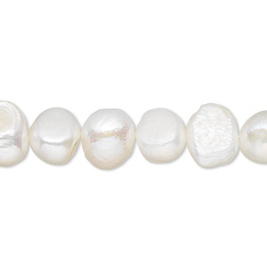 pearl, cultured freshwater (bleached), white, 9-10mm flat-sided potato, d grade, mohs hardness 2-1/2 to 4. sold per 15-inch strand.