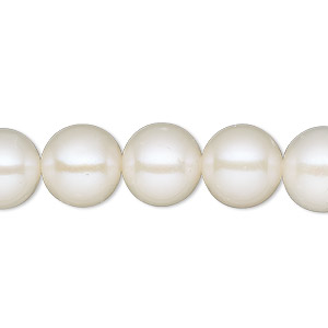 pearl, cultured freshwater (bleached), white, 9-10mm round, b- grade, mohs hardness 2-1/2 to 4. sold per 16-inch strand.