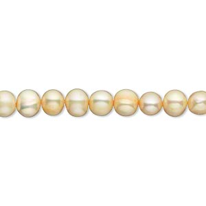 pearl, cultured freshwater (dyed), apricot, 5-6mm semi-round, c- grade, mohs hardness 2-1/2 to 4. sold per 16-inch strand.