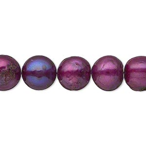 pearl, cultured freshwater (dyed), berry, 10-11mm semi-round, d grade, mohs hardness 2-1/2 to 4. sold per 16-inch strand.