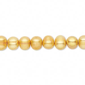 pearl, cultured freshwater (dyed), burnt umber, 6-7mm semi-round, c grade, mohs hardness 2-1/2 to 4. sold per 15-inch strand.