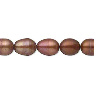 pearl, cultured freshwater (dyed), copper, 8-9mm rice, c- grade, mohs hardness 2-1/2 to 4. sold per 16-inch strand.