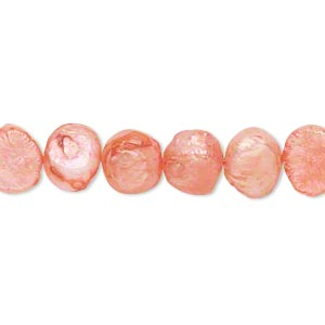 pearl, cultured freshwater (dyed), dark blush, 8-9mm flat-sided potato, d grade, mohs hardness 2-1/2 to 4. sold per 16-inch strand.