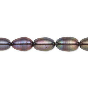 pearl, cultured freshwater (dyed), dark peacock, 7-8mm rice, c grade, mohs hardness 2-1/2 to 4. sold per 16-inch strand.