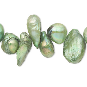 pearl, cultured freshwater (dyed), dark yellow-green, 10x5mm-40x14mm top-drilled baroque, d grade, mohs hardness 2-1/2 to 4. sold per 15-inch strand.