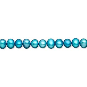 pearl, cultured freshwater (dyed), electric blue, 4-5mm semi-round, c- grade, mohs hardness 2-1/2 to 4. sold per 16-inch strand.