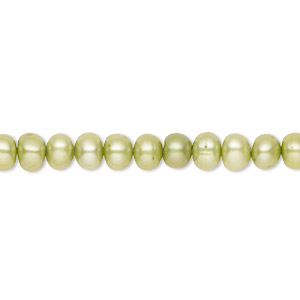 pearl, cultured freshwater (dyed), fern green, 5-6mm button, b- grade, mohs hardness 2-1/2 to 4. sold per 16-inch strand.