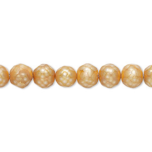 pearl, cultured freshwater (dyed), gold, 5-6mm faceted semi-round with 0.2-0.7mm hole, c grade, mohs hardness 2-1/2 to 4. sold per 16-inch strand.