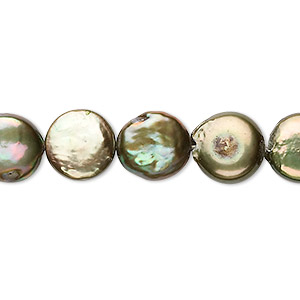 pearl, cultured freshwater (dyed), gold and green, 10-12mm flat round with 0.2-0.7mm hole, c- grade, mohs hardness 2-1/2 to 4. sold per 8-inch strand, approximately 15 beads.