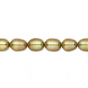 pearl, cultured freshwater (dyed), golden olive, 6-7mm rice, c- grade, mohs hardness 2-1/2 to 4. sold per 16-inch strand.