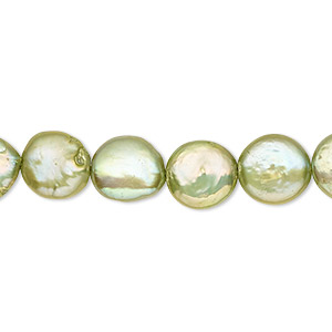 pearl, cultured freshwater (dyed), green, 10-12mm flat round, c- grade, mohs hardness 2-1/2 to 4. sold per 16-inch strand.