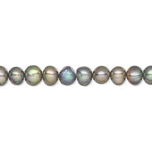 pearl, cultured freshwater (dyed), gunmetal green, 5-6mm semi-round, c grade, mohs hardness 2-1/2 to 4. sold per 15-inch strand.