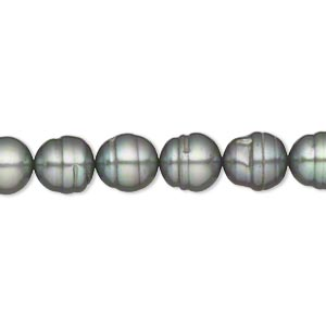 pearl, cultured freshwater (dyed), gunmetal green, 8mm rice, d grade, mohs hardness 2-1/2 to 4. sold per 15-inch strand.