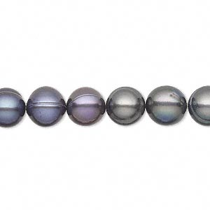 pearl, cultured freshwater (dyed), iris blue, 8-11mm semi-round, c- grade, mohs hardness 2-1/2 to 4. sold per 16-inch strand.