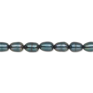 pearl, cultured freshwater (dyed), iris green, 4-5mm rice, c grade, mohs hardness 2-1/2 to 4. sold per 16-inch strand.